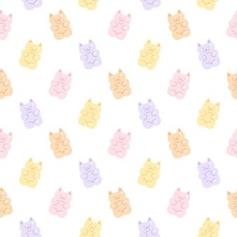 Modello senza cuciture di caramelle di gelatina di gatto gommoso carino