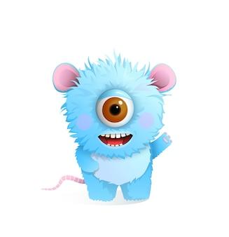 Simpatico mostro peloso e peloso con un grande occhio per i bambini, salutando o congratulandosi. sorridente creatura immaginaria design per bambini, 3d cartoon illustrazione.