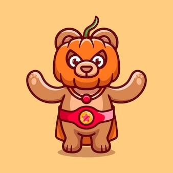 Illustrazione sveglia del supereroe della zucca dell'orso di halloween