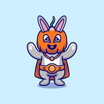 Simpatica illustrazione del supereroe della zucca del coniglietto di halloween