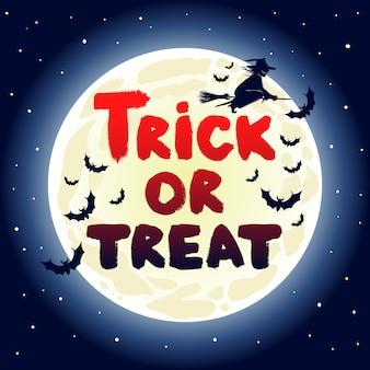 Simpatica carta di halloween con strega volante e pipistrelli su uno sfondo di luna