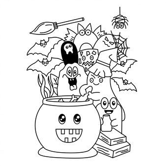 Simpatico cartone animato di halloween