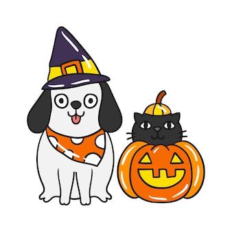 Vettore sveglio del gatto e del cane di halloween.