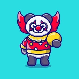 Simpatico panda pagliaccio di halloween che trasporta la palla