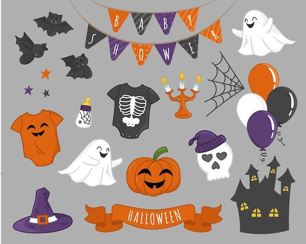 Simpatico set di elementi di halloween per il vettore di bundle per bambini piccoli Vettore Premium