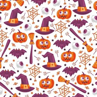 Modello senza cuciture sveglio degli elementi di halloween su fondo bianco per carta da parati, confezionamento, imballaggio.