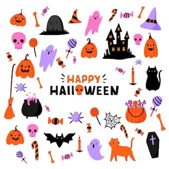 Insieme di elementi del fumetto piatto carino halloween. zucca, fantasma, gatto, pipistrello, caramelle e altri elementi tradizionali. lettering frase happy halloween.