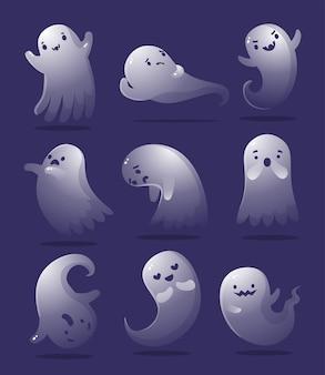 Fantasma di halloween carino impostato in diverse pose. sagoma di fantasma spettrale volante bianco isolata
