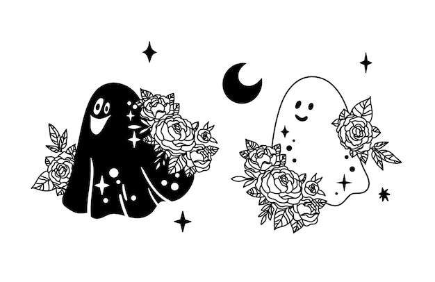 Simpatico fantasma di halloween con fiori di peonia vettore di clipart di contorno di fantasma celeste floreale