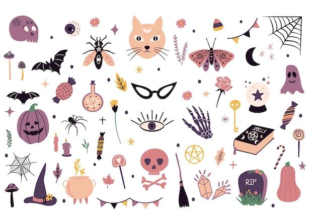 Elementi grafici di halloween carino. illustrazioni di doodle disegnato a mano