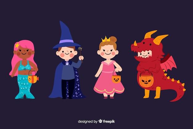 Accumulazione sveglia dei costumi del bambino di halloween Vettore Premium