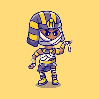 Simpatica mummia del faraone di halloween che balla