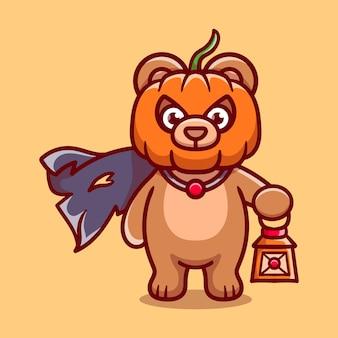 Illustrazione sveglia dell'orso della testa della zucca di halloween che trasporta una lanterna
