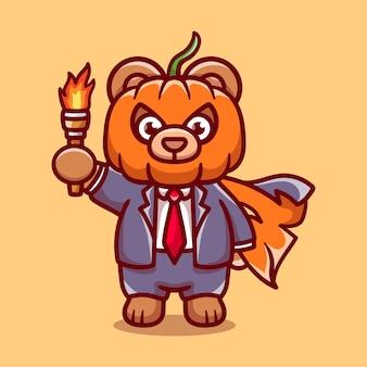 Illustrazione sveglia dell'orso della testa della zucca di halloween che porta una torcia