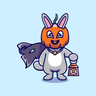 Illustrazione sveglia del coniglietto della testa della zucca di halloween che trasporta una lanterna