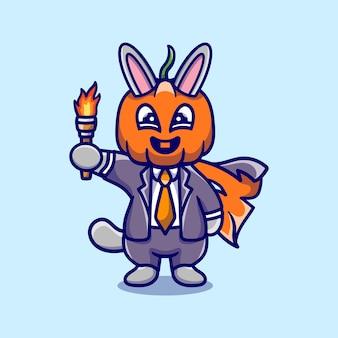 Simpatica illustrazione di un coniglietto con testa di zucca di halloween che porta una torcia