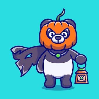 Illustrazione sveglia del panda della testa della zucca di halloween che trasporta una lanterna