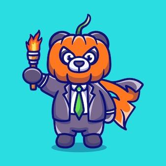 Illustrazione sveglia del panda della testa della zucca di halloween che porta una torcia