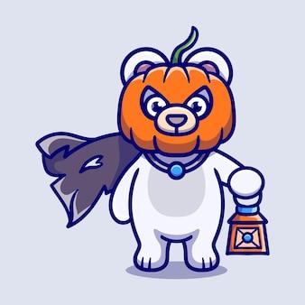Illustrazione sveglia dell'orso polare della testa della zucca di halloween che trasporta una lanterna