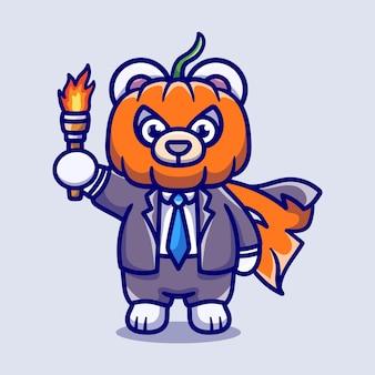 Simpatica illustrazione di orso polare testa di zucca di halloween che porta una torcia