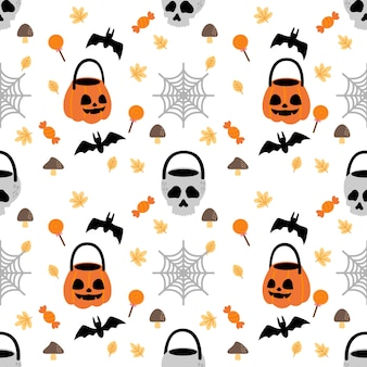 Cute halloween rabbit bunny cartoon doodle seamless pattern illustrazione