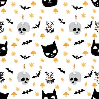 Cute halloween rabbit bunny cartoon doodle seamless pattern illustrazione