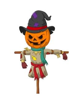 Simpatico cartone animato di zucca spaventapasseri di halloween