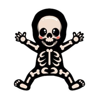 Simpatico cartone animato di halloween scheletro in posa