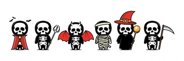 Simpatica mascotte teschio di halloween