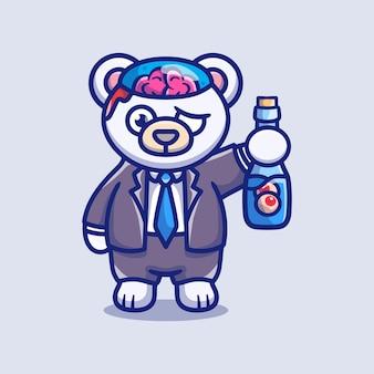 Simpatico orso polare zombie di halloween che trasporta una bottiglia per gli occhi