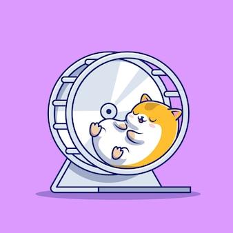 Criceto sveglio che dorme nell'illustrazione dell'icona del fumetto della ruota da jogging. concetto dell'icona di sonno animale isolato. stile cartone animato piatto