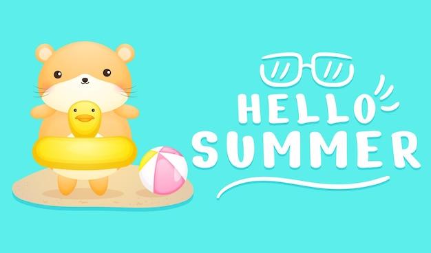 Simpatico criceto sulla boa di nuoto con banner di saluto estivo summer