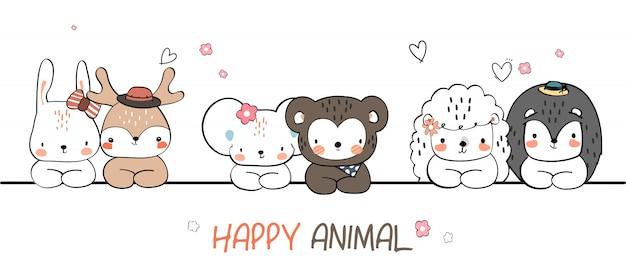Mano sveglia che disegna la carta da parati di scarabocchio del fumetto di saluto della famiglia degli animali selvatici di modo di estate