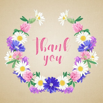 Carta disegnata a mano carina con ghirlanda di fiori selvatici