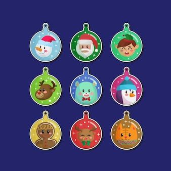 Collezioni di ornamenti di adesivi di palle di natale disegnati a mano carina