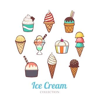 Disegnato a mano carino diverso del set di gelato Vettore Premium