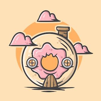 Illustrazione disegnata a mano sveglia della casa della ciambella