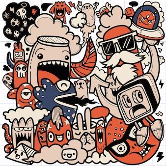 Personaggio dei cartoni animati di doodle disegnato a mano sveglio