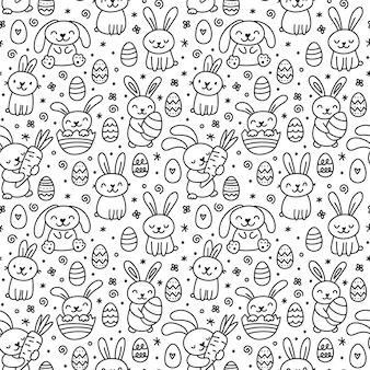 Reticolo senza giunte di pasqua di doodle disegnato a mano sveglio con coniglietti, fiori, uova di pasqua.