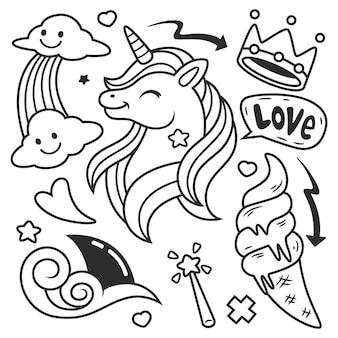 Doodle disegnato a mano sveglio. illustrazione, isolato su bianco