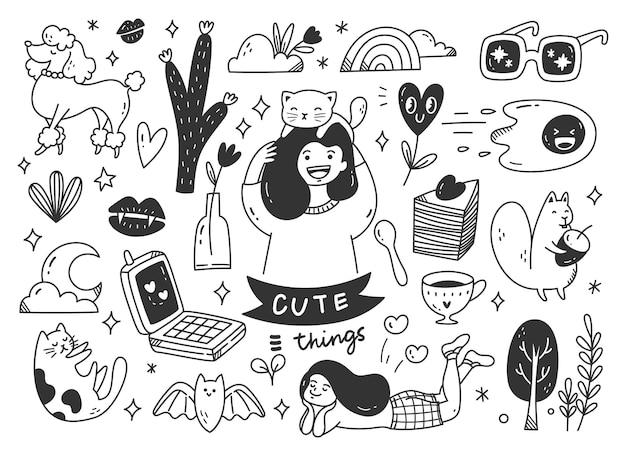 Linea arte di doodle disegnato a mano sveglio Vettore Premium
