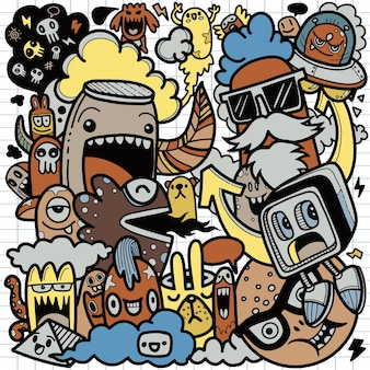 Insieme disegnato a mano sveglio del fumetto di scarabocchi del personaggio dei cartoni animati sveglio di scarabocchio