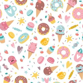 Carino disegnato a mano ciambelle gelato cupcakes caramelle e dolci senza cuciture sfondo