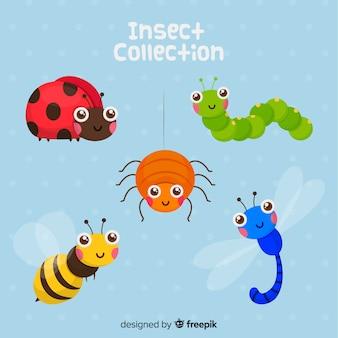 Pacchetto di insetti disegnati a mano carino
