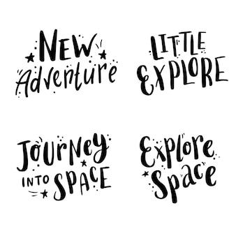 Spazio di lettere disegnate a mano carino e citazione di galassia con elementi a stella.