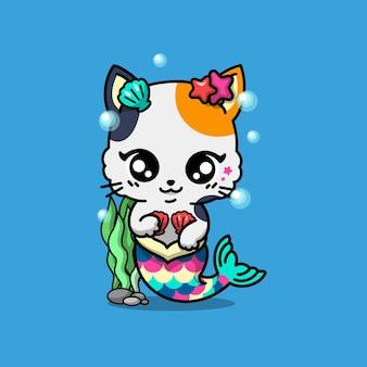 Illustrazione vettoriale di gatto sirena disegnato a mano carino