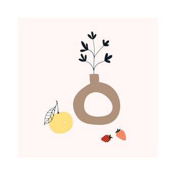 Vaso moderno disegnato a mano carino con foglia verde. modello accogliente in stile scandinavo hygge per cartoline, poster, biglietti di auguri, t-shirt per bambini. illustrazione vettoriale in stile cartone animato piatto