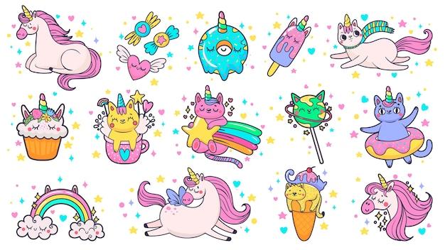 Toppe disegnate a mano carino. unicorno magico pony da favola, gatto favoloso e adesivi di caramelle dolci