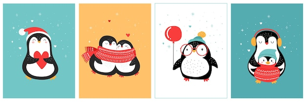 Collezione di pinguini disegnati a mano carina, auguri di buon natale