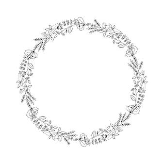 Graziosa cornice rotonda disegnata a mano con elementi floreali erbe foglie fiori ramoscelli rami doodle